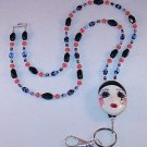BEAUTIFUL THEATRE FACE~BEADED LANYARD~ID BADGE HOLDER~LANYARD~BREAK AWAY