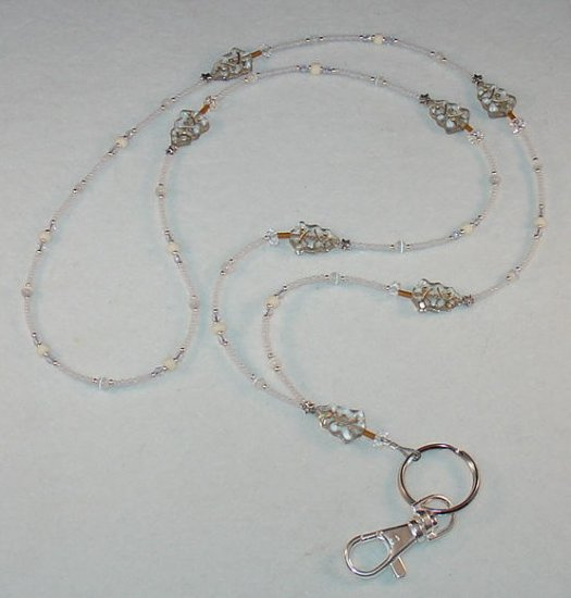 BEAUTIFUL WHITE CHRISTMAS~BEADED LANYARD~ID BADGE HOLDER~LANYARD