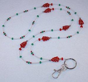 BEAUTIFUL RED CHRISTMAS TREE~BEADED LANYARD~ID BADGE HOLDER~LANYARD