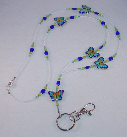 CHINESE CLOISONNE~BLUE BUTTERFLIES~BEADED LAYARD~ID BADGE HOLDER~LANYARD~BREAK AWAY
