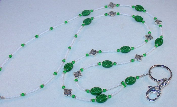 SHAMROCK~BEADED LANYARD~ID BADGE HOLDER~LANYARD~BREAK~AWAY