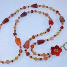 CARNELIAN~BEADED LANYARD~ID BADGE HOLDER~