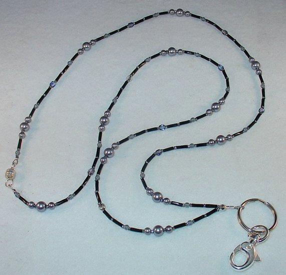 SMOKEY GREY PEARL~BEADED LANYARD~ID BADGE HOLDER~LANYARD~BREAK AWAY