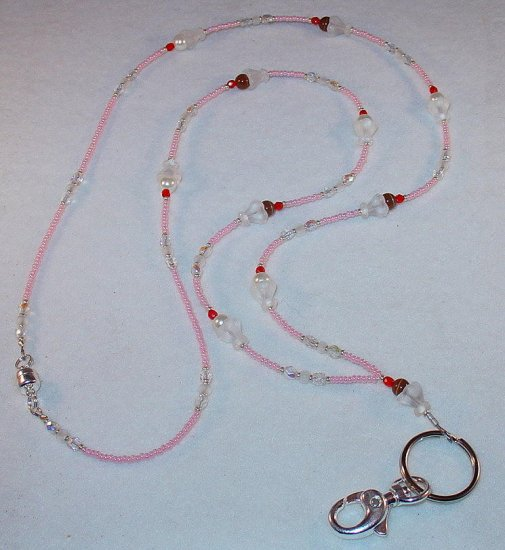 ICE CREAM SUNDAE~~BEADED LANYARD~ID BADGE HOLDER~LANYARD~BREAK AWAY