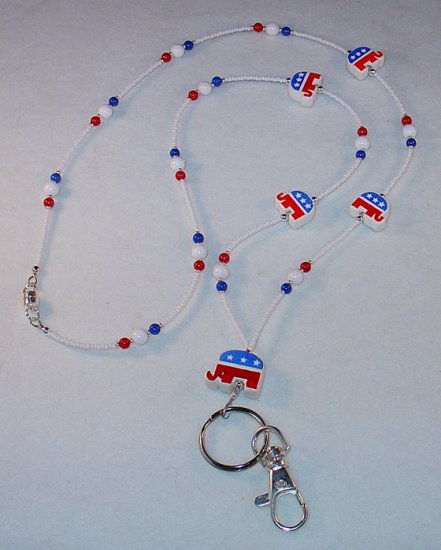 REPUBLICAN~BEADED LANYARD~ID BADGE HOLDER~LANYARD~BREAK AWAY~2