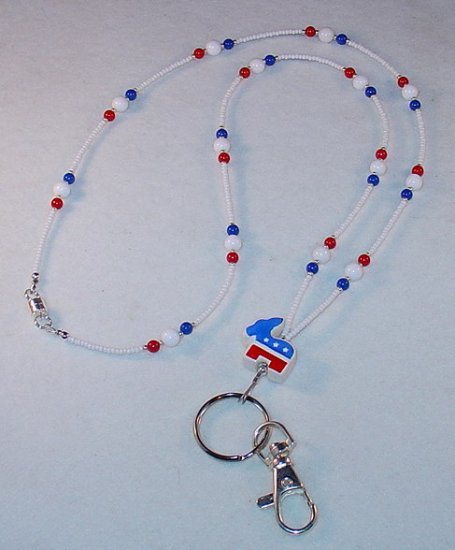 DEMOCRAT~BEADED LANYARD~ID BADGE HOLDER~LANYARD~BREAK AWAY