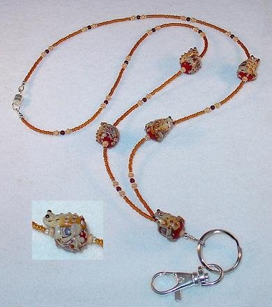 TREE FROG~RED TAFFY SWIRL~BEADED LANYARD~ID BADGE HOLDER~LANYARD~BREAK AWAY