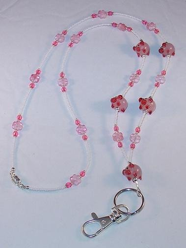 ADORABLE PINK PIGS~BEADED LANYARD~ID BADGE HOLDER~LANYARD~BREAK AWAY