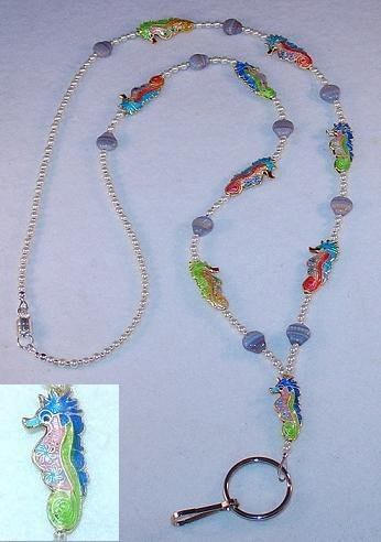 UNDER WATER PARADISE~CLOISONNE SEA HORSES~BEADED LANYARD~ID BADGE HOLDER~LANYARD~BREAK AWAY