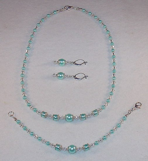 AQUA GLASS PEARL~SWAROVSKI~NECKLACE~BRACELET~EARRING~SET