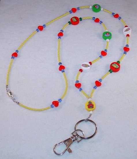 BACK TO SCHOOL~BEADED LANYARD~ID BADGE HOLDER~LANYARD~BREAK AWAY