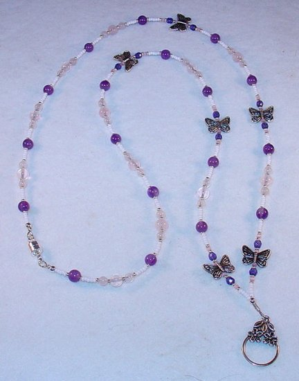 ROSE QUARTZ~AMETHYST~GEMSTONE~BUTTERFLY~BEADED LANYARD~ID BADGE HOLDER~LANYARD~BREAK AWAY