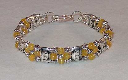 YELLOW CAT'S EYE~TIBET SILVER BRACELET