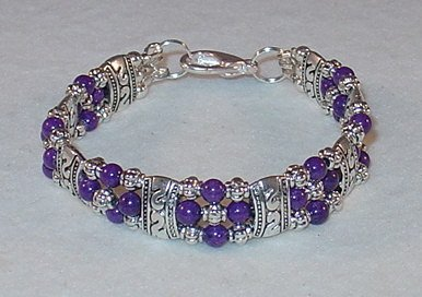 PURPLE MOUNTAIN JADE~TIBET SILVER BRACELET