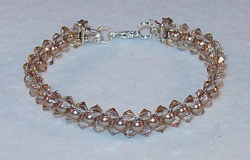 SWAROVSKI GOLDEN SHADOW~BRONZE PEARL BRACELET