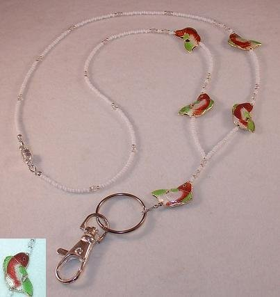 CLOISONNE~RED, GREEN & WHITE BASS FISH LANYARD~ID BADGE HOLDER~BREAK AWAY