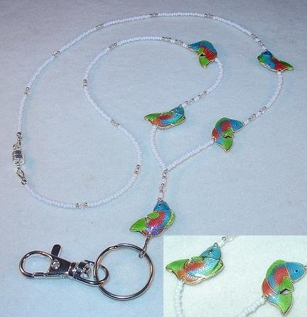 CLOISONNE~PINK, AQUA & GREEN BASS FISH LANYARD~ID BADGE HOLDER~BREAK AWAY