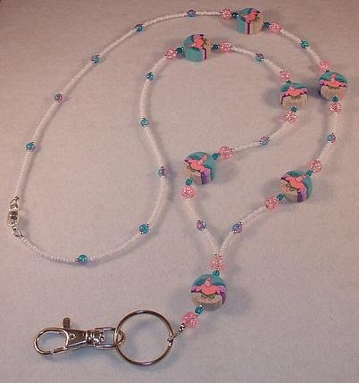 PINK STARFISH BEADED LANYARD~ID BADGE HOLDER~LANYARD~BREAK AWAY