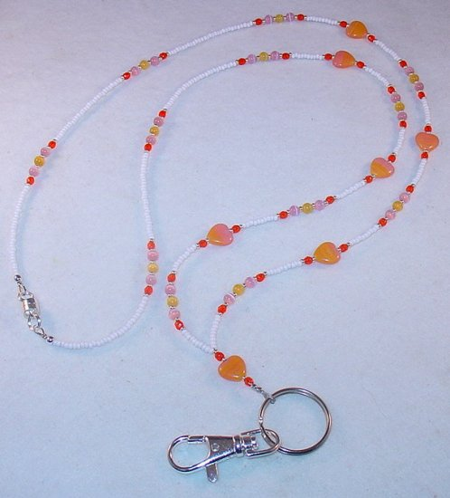 TANGERINE PINK SWIRL~BEADED LANYARD~ID BADGE HOLDER~LANYARD~BREAK AWAY