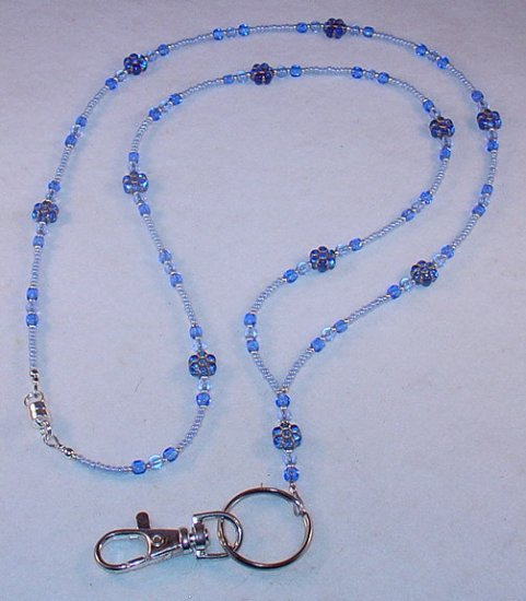 SAPPHIRE BLUE FLOWER~BEADED LANYARD~ID BADGE HOLDER~LANYARD~BREAK AWAY