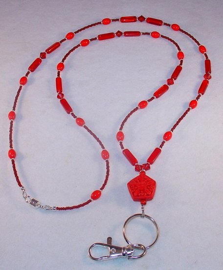 CINNABAR~BEADED LANYARD~ID BADGE HOLDER~LANYARD~BREAK AWAY
