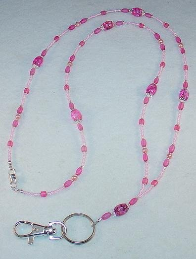 FUSHIA~BEADED LANYARD~ID BADGE HOLDER~LANYARD~BREAK AWAY
