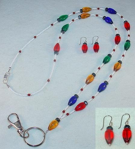 X-MAS TREE LIGHTS SET~BEADED LANYARD~ID BADGE HOLDER~LANYARD~BREAK AWAY & EARRINGS