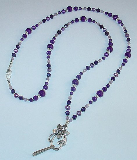 PURPLE MOUNTAIN JADE~BEADED LANYARD~ID BADGE HOLDER~LANYARD~BREAK AWAY