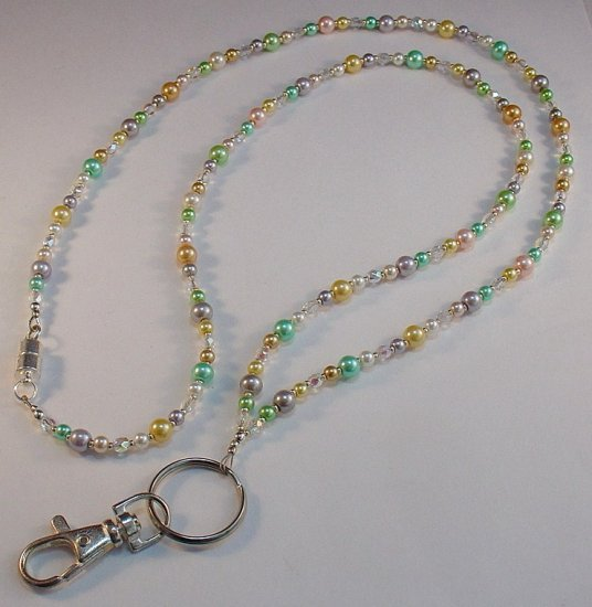PRETTY IN PASTELS~BEADED LANYARD~ID BADGE HOLDER~LANYARD