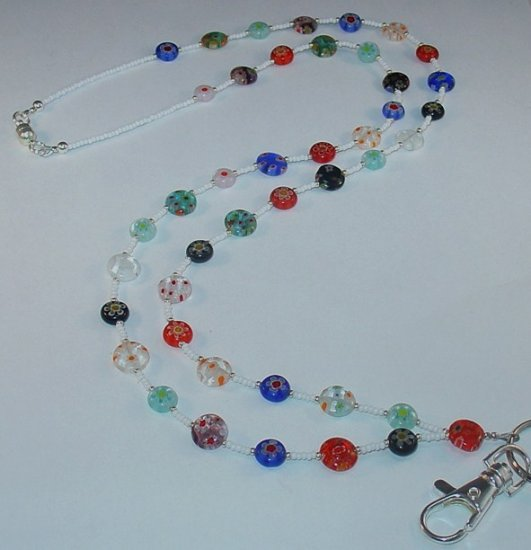 MILLEFIORI MADNESS~BEADED LANYARD~ID BADGE HOLDER~LANYARD~BREAK~AWAY