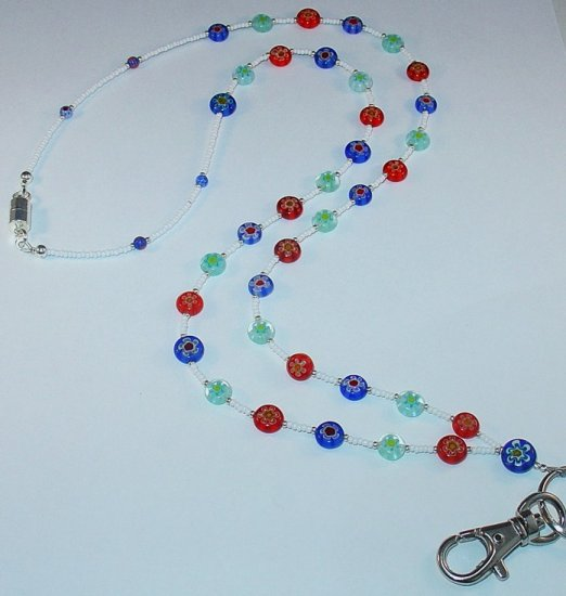 MULTI-COLORED MILLEFIORI FLOWER~BEADED LANYARD~ID BADGE HOLDER~LANYARD~BREAK~AWAY