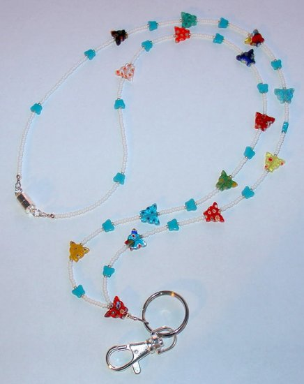 BUTTERFLY MILLEFIORI~BEADED LANYARD~ID BADGE HOLDER~LANYARD~BREAK AWAY