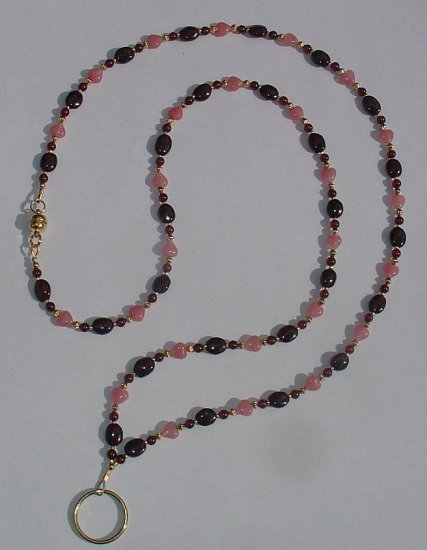 GENUINE GARNET~BEADED LANYARD~ID BADGE HOLDER~LANYARD~BREAK~AWAY
