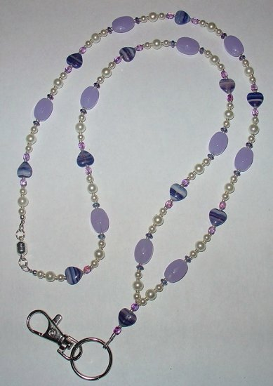 PURPLE SWIRL HEART~LAVENDER~BEADED LANYARD~ID BADGE HOLDER~LANYARD~BREAK~AWAY
