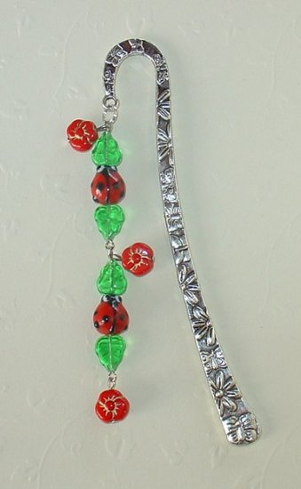 LADY BUG & FLOWER~TIBET SILVER BOOK MARKER