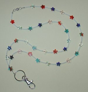 STAR MILLEFIORI~BEADED LANYARD~ID BADGE HOLDER~LANYARD~BREAK~AWAY