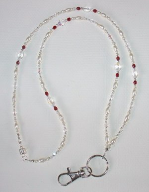 ELEGANT CRYSTAL AB~PEARL~BEADED LANYARD~ID BADGE HOLDER~LANYARD~BREAK AWAY