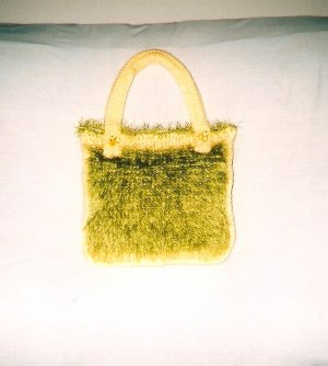 Green and Yellow Crochet Shoulder Bag