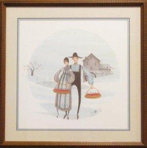 P. Buckely Moss Print 'Apple Farmers' Signed Framed