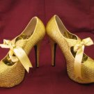 BORDELLO Teeze-04R Gold Rhinestones Heels Sz10