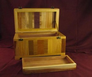 Grover Noe Wooden Storage Box With A Removable Tray
