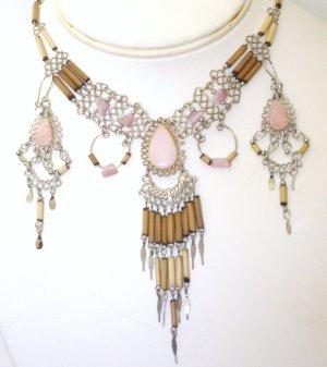 Alpaca and Bambu necklace set - Rose Quartz