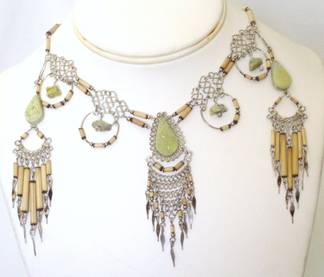 Alpaca and Bambu necklace set - Serpentine
