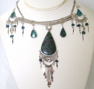 Alpaca necklace set - Chrysocolla