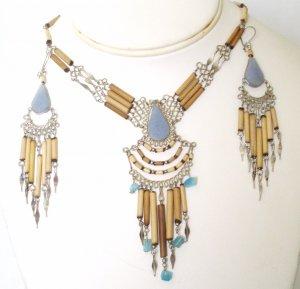 Alpaca silver and bambu necklace set - Celestine