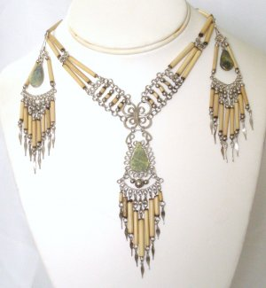 Alpaca silver and bambu necklace set - Serpentine