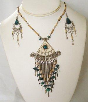 Alpaca silver and bambu necklace set - Chrysocolla
