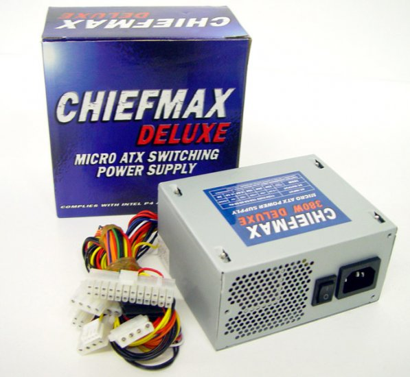 MicroATX 380 Watt Chiefmax Power Supply - Replacement for ALL microATX Emachines and most HP