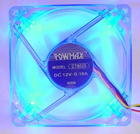PowMax Typhoon 80 MM Case Fan with 4 Blue LED lights
