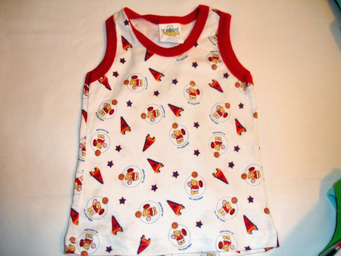 Red All Star Teddy No Sleeve (3-6m)